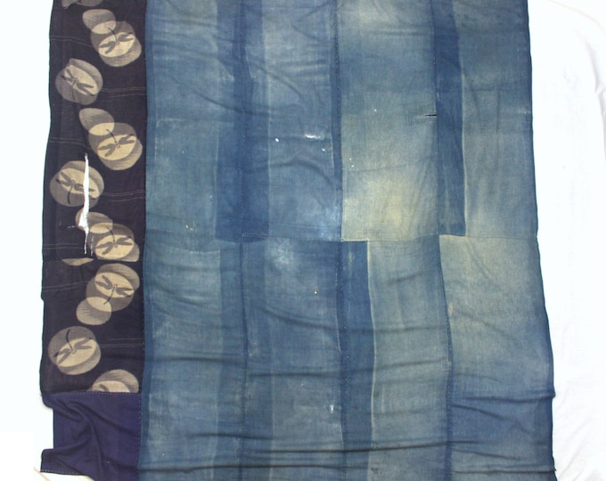 Antique Japanese Boro. Hand Woven Cotton Fabric. Hand Stitched and Patched Folk Textile.  (Ref: 1799)