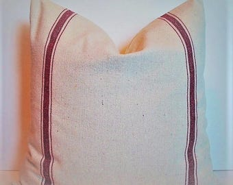 Grainsack Pillow Cover Farmhouse Pillow Red Grain sack Look Pillow Cover Red Farmhouse Pillow 0