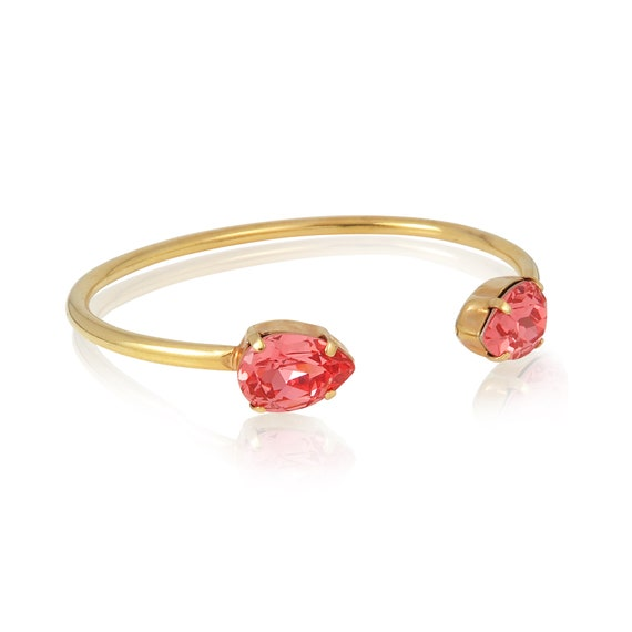Crystal Drop Cuff Bracelet in Padparadsha