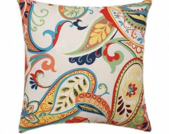 Decorative Pillow Cover, Multicolored Paisley Throw Pillow, Red Orange Turquoise Navy Lime Green Yellow White Throw Pillow Cover