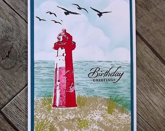 Lighthouse birthday card, hand stamped and sponged