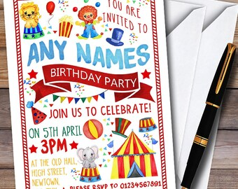 Kids Circus Carnival Clown Personalised Childrens Birthday Party Invitations