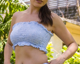 Bandeau Top, Crop Top, Tube Top, Strapless Top, Cropped Tube Top, Boobtube, Gathered Tube Top, 147-107