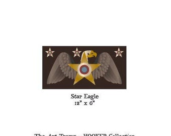 """Star Eagle ~ 12"""" x 6"""" Paper Pattern for PUNCH NEEDLE by The Art Tramp/HOOKER Collection"""