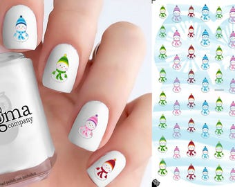 Colorful Snowmen Nail Decals (Set of 68)
