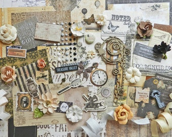Scrapbook Kit / Steampunk / Vintage Neutrals / Scrapbooking Paper / Craft Kit / Embellishments / Scrapbook Paper / Scrapbooking Lot / Kit