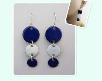 Cobalt Blue and White Circle Enamel Sterling Silver Long Geometric Earrings