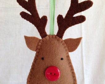 Christmas Decorations - Felt Reindeer - Unscented - Scented with Cloves - Yule - Wool Felt - Merry Christmas - Rudolph
