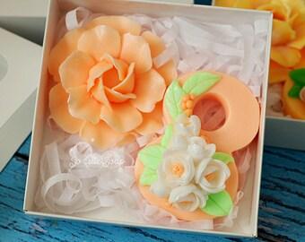 Festive Soap Set, soap set gift, Bouquet on March 8, soap flowers, March 8, soap gift, Soap set - 2 soaps