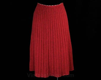 Size 6 1940s Skirt - Sweater Girl 40s Wool Knit A-Line Skirt - Lipstick Pink Nubby Texture - Radiant Fluted RIbbing - Waist 26 to 30 - 49490
