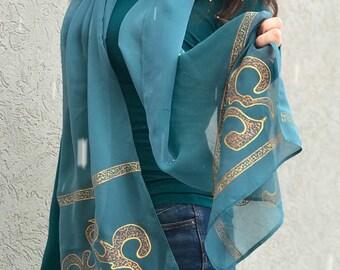 Handmade handpainted unic silk esarp by ZetaaFashion