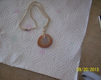 """Brownish Stone necklace, 17"""" long on chain"""