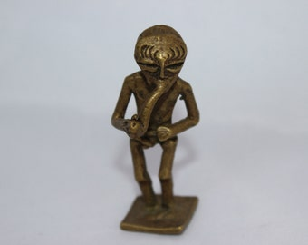 Pipe Smoking African Tribal Tiny Brass Man Sculpture Talisman African Sculpture of a Pipe Smoking Man Small Sculpture