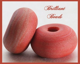 "Sandstone...Coral Red ""Sea Glass"" Spacer Bead Pair...Handmade Lampwork Beads SRA, Made To Order"