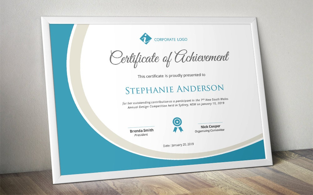 Curve corporate business certificate template for ms word zoom yelopaper Gallery
