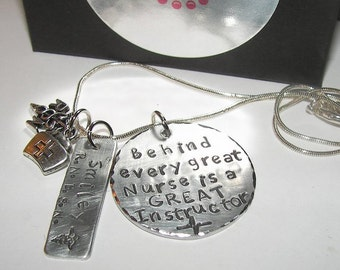 Nurses instructor gift, Hand stamped jewelry, custom hand stamped, Behind every nurse is a, personalized, RN.LPN, hand stamped necklace