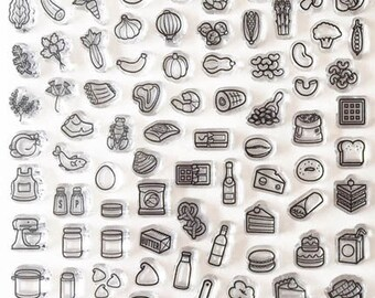 planner stamps, planner stamps sets, bullet journal stamps, fitness planner, meal tracker, meal planner, menu, buju, starving artistamps