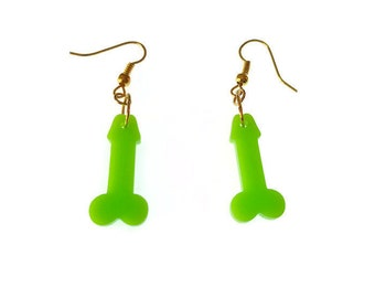 Penis Earrings Green Dangle Funny Gift Novelty Jewelry Hen Party