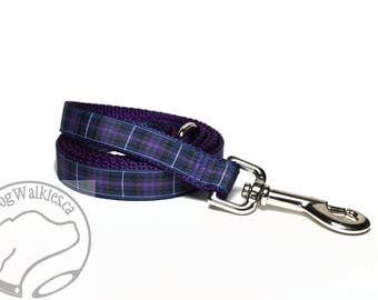 Pride of Scotland Tartan Leash // Matching Tartan Dog Leash in two widths // Plaid Leashes // Tartan Lead // Purple Leash