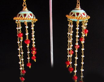 Turquoise Earrings,Jhumkas,Meenakari Jhumkas,Freshwater Pearls,Red & Gold Jhumka Earrings by Taneesi