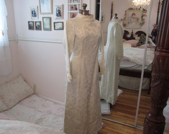 Lovely 60's/70's white brocade wedding dress and train