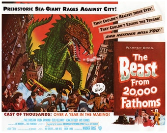 "Vintage Horror Science Fiction Movie Poster Print, 1953, The Beast from 20,000 Fathoms, PMSF 11"" x 14"""