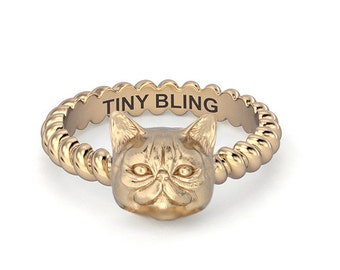 Exotic Short Hair Persian Cat Rope Ring in Sterling Sliver or 14k Gold