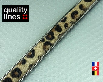 X 18 cm, 15mm flat leather / 2mm chains, 18 cm leopard is enough to make a bracelet XL