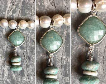 Amazonite Stones, Freshwater Pearls & Sterling Silver