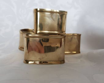 Solid Brass Napkin Rings (4), Set of 4 Thick Solid Brass Napkin Rings, Brass, Brass Napkin Rings, Napkin Rings