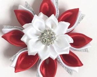 Dog Collar accessories, Dog collar flower, Flower for dog, Red Collar Flower, Dog flower, Dog Bow, Kanzashi Flower, Dog Wedding Flower, red