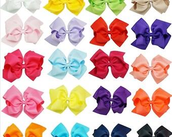 "5"" Grosgrain Hair Bows, Double Stacked Full Bow,  1 3/4"" Alligator Clip, Girls Hair Clips, Toddler Hair Bows, 20 Colors, Girls Hair Bows"