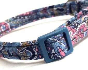 Blue Paisley Cat Collar