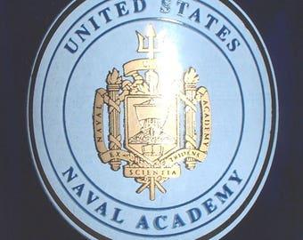 USN US Navy Naval Academy purple glass coffee mug
