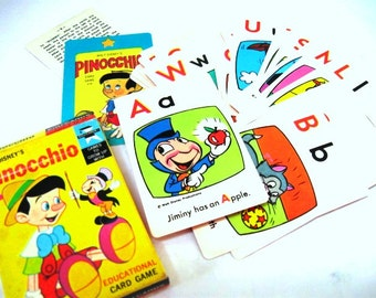 Vintage Pinocchio Card Game, Walt Disney Productions, Educational EduCards, Jimminy Cricket,   Ephemera Supplies, Game, DYI Gift Tags