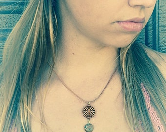 Lambskin cord necklace with Asian inspired wooden pendant
