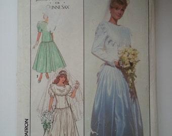 Plus Size Dress/Designer wedding dress / tea length dress / 80s wedding dress / Sewing Pattern, Waist 34, Bust 42, Size 20, Simplicity 9009
