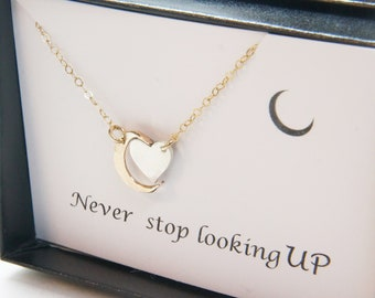 Inspirational Heart Moon Necklace Gift Mothers Day Celestial Graduation Gift Personalized Gift Card SET Jewelry Mother Daughter
