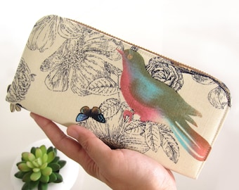 VEGAN WALLET, Bird in the Nature, Womens Wallet, Women's Wallet Clutch, Handmade cotton fabric, Wallet for your goodies Safely and Be You.!!