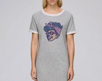 DRESS Gray heather short sleeves Cotton BIO sleeves Turned Tenders