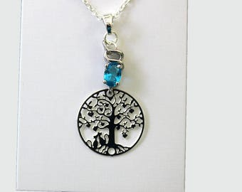 """Necklace """"2 cats in love under a tree of life aquamarine OWL"""""""