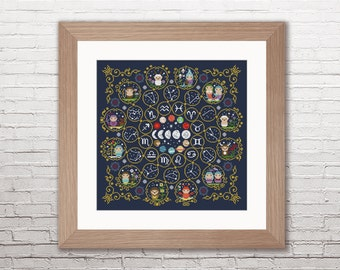 Zodiac Sampler - PDF cross stitch pattern