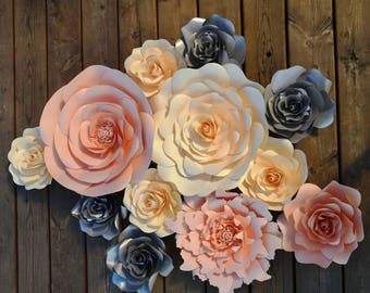 Set of 12 Peach, Ivory and Silver paper flowers for paper flower wall decoration, backdrop, home decor.