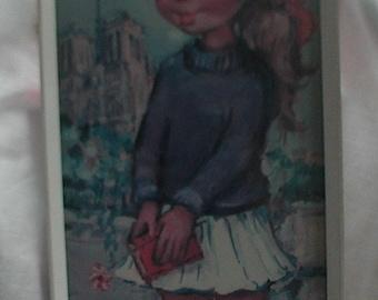 Vintage Original 1960's Michel Thomas Big Eyed Girl Print
