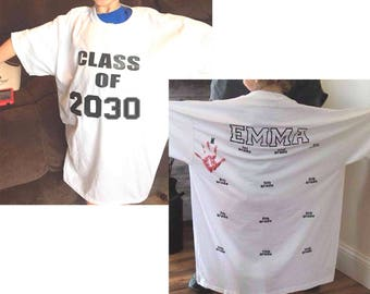 Class of 2030 shirt, handprint tee, preschool shirt, kindergarten graduation shirts, photo prop, first day of school, last day keepsake