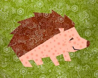 Hedgehog quilt block, paper pieced quilt pattern, PDF pattern, instant download, wildlife pattern