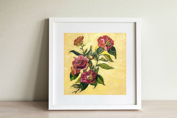 Floral Art Red Roses Art Canvas Floral Wall Art Floral Home