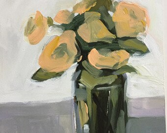 flower painting floral art peach and green 9x12 pamela munger painterly still life vibrant art
