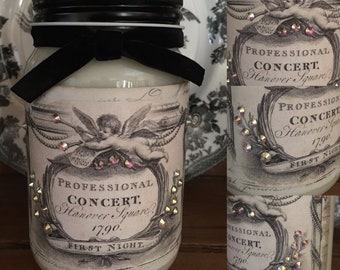 French Cherub 16oz Mason Jar Candle Soy Candles Shabby Chic Style Paris Style Scented Candles Home Decor Mothers Day Gift Ideas