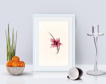 Watercolor flower printable home decor, floral print, nature print, minimalist print, printable art, floral art, nature printable wall art
